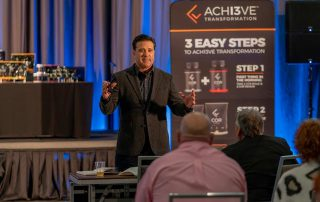 Jeremy Fouts shares a leadership message at the Corvive Reach event in Allen, TX
